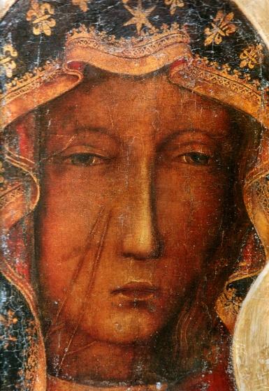 man throws paint at polish miracle virgin mary icon