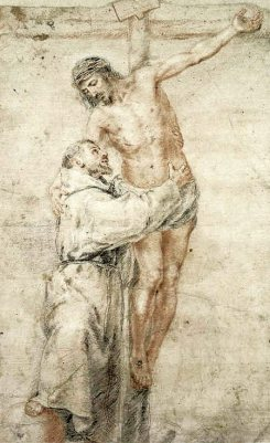 By-murillo-bartolomc3a9-esteban-st-francis-at-the-foot-of-the-cross-embracing-jesus